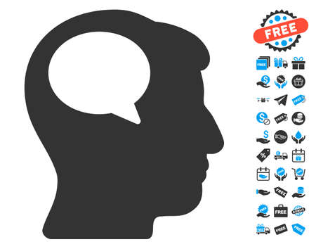 hominid: Person Thinking icon with free bonus clip art. Vector illustration style is flat iconic symbols, blue and gray colors, white background.