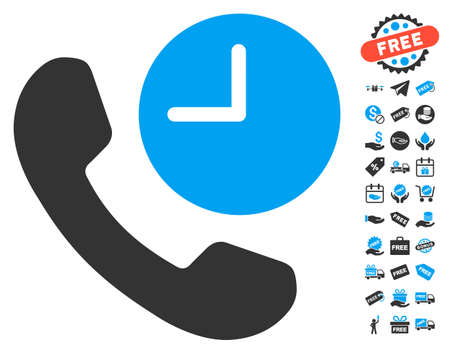 phone time: Phone Time icon with free bonus pictograms. Vector illustration style is flat iconic symbols, blue and gray colors, white background. Illustration