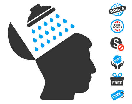 open source: Propaganda Brain Shower icon with free bonus symbols. Vector illustration style is flat iconic symbols, blue and gray colors, white background.