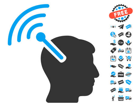 cerebra: Radio Neural Interface icon with free bonus images. Vector illustration style is flat iconic symbols, blue and gray colors, white background. Illustration