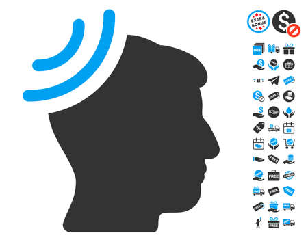 free the brain: Radio Reception Brain pictograph with free bonus graphic icons. Vector illustration style is flat iconic symbols, blue and gray colors, white background. Illustration