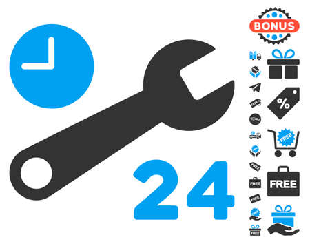 Service Hours icon with free bonus pictograms. Vector illustration style is flat iconic symbols, blue and gray colors, white background.