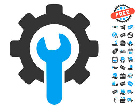 config: Service Tools pictograph with free bonus graphic icons. Vector illustration style is flat iconic symbols, blue and gray colors, white background. Illustration