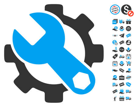 Service Tools icon with free bonus pictures. Vector illustration style is flat iconic symbols, blue and gray colors, white background.