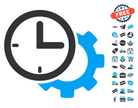 Time Setup Gear icon with free bonus design elements. Vector illustration style is flat iconic symbols, blue and gray colors, white background. Illustration