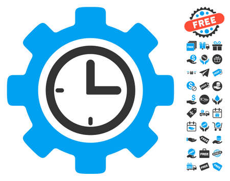 schedule system: Time Setup Gear pictograph with free bonus design elements. Vector illustration style is flat iconic symbols, blue and gray colors, white background.