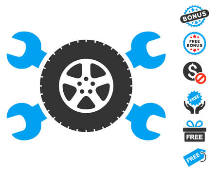 config: Tire Service Wrenches pictograph with free bonus pictures. Vector illustration style is flat iconic symbols, blue and gray colors, white background. Illustration