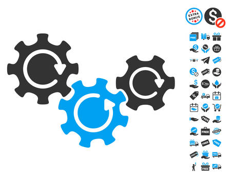 Transmission Gears Rotation icon with free bonus graphic icons. Vector illustration style is flat iconic symbols, blue and gray colors, white background.