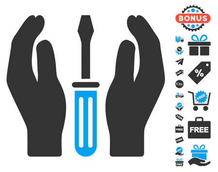 config: Tuning Screwdriver Care Hands icon with free bonus design elements. Vector illustration style is flat iconic symbols, blue and gray colors, white background. Illustration