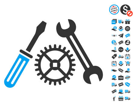 Tuning Service icon with free bonus clip art. Vector illustration style is flat iconic symbols, blue and gray colors, white background.