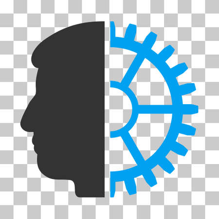 Blue And Gray Android Head interface icon. Vector pictogram style is a flat bicolor symbol on chess transparent background.