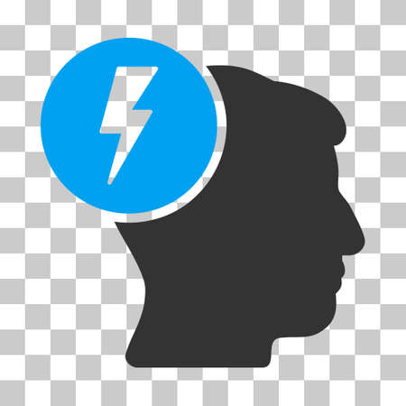 enforce: Blue And Gray Brain Electricity toolbar pictogram. Vector pictograph style is a flat bicolor symbol on chess transparent background.