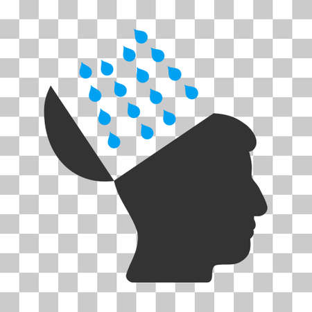 Blue And Gray Brain Shower toolbar icon. Vector pictograph style is a flat bicolor symbol on chess transparent background.
