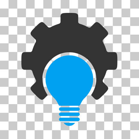 configuration: Blue And Gray Bulb Configuration Gear interface toolbar pictogram. Vector pictogram style is a flat bicolor symbol on chess transparent background.