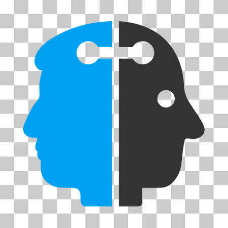 dual: Blue And Gray Dual Head Connection toolbar icon. Vector pictogram style is a flat bicolor symbol on chess transparent background. Illustration