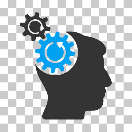 Blue And Gray Head Cogs Rotation interface toolbar icon. Vector pictograph style is a flat bicolor symbol on chess transparent background.