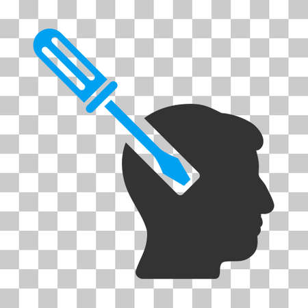 endoscopy: Blue And Gray Head Screwdriver Tuning interface icon. Vector pictogram style is a flat bicolor symbol on chess transparent background.