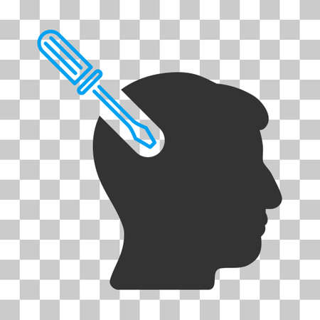 Blue And Gray Head Surgery Screwdriver toolbar pictogram. Vector pictogram style is a flat bicolor symbol on chess transparent background.