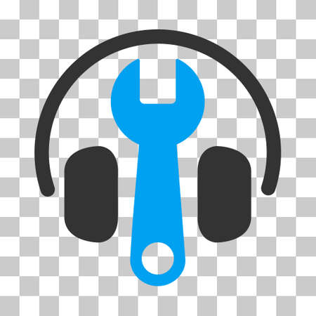 volume control: Blue And Gray Headphones Tuning Wrench toolbar pictogram. Vector pictogram style is a flat bicolor symbol on chess transparent background.