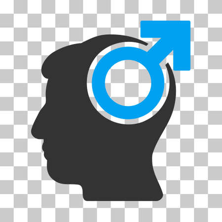 personality development: Blue And Gray Intellect Potency interface toolbar icon. Vector pictogram style is a flat bicolor symbol on chess transparent background. Illustration