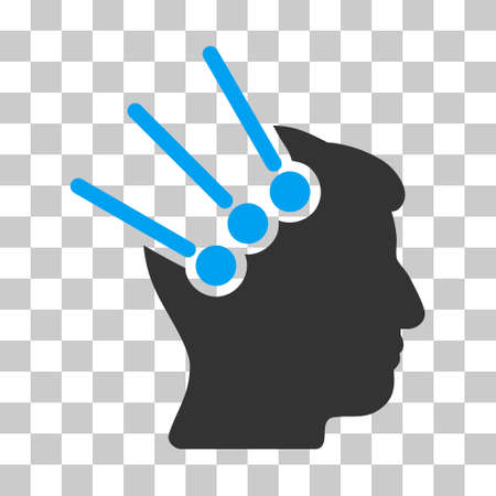 Blue And Gray Neural Interface Connectors toolbar icon. Vector pictograph style is a flat bicolor symbol on chess transparent background.