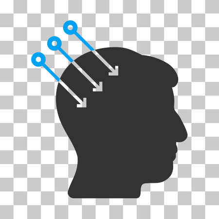 persona: Blue And Gray Neural Interface Connectors interface pictogram. Vector pictograph style is a flat bicolor symbol on chess transparent background. Illustration