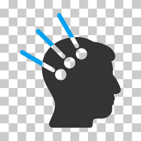Blue And Gray Neural Interface interface pictogram. Vector pictogram style is a flat bicolor symbol on chess transparent background.