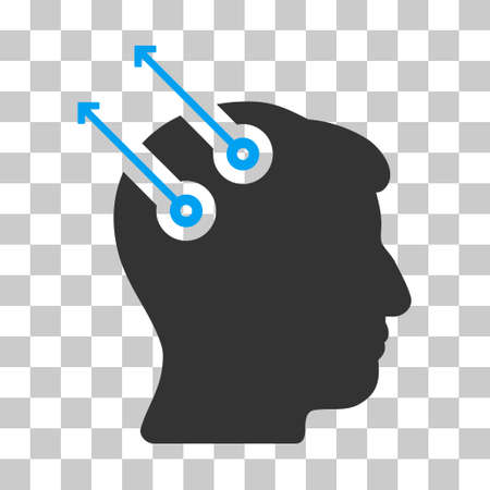 Blue And Gray Neural Interface Plugs toolbar pictogram. Vector pictograph style is a flat bicolor symbol on chess transparent background.