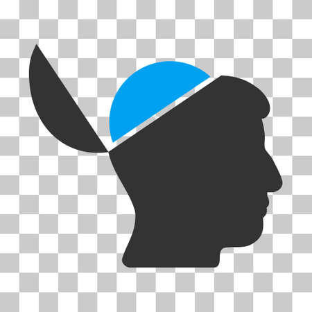 Blue And Gray Open Brain interface toolbar pictogram. Vector pictogram style is a flat bicolor symbol on chess transparent background.