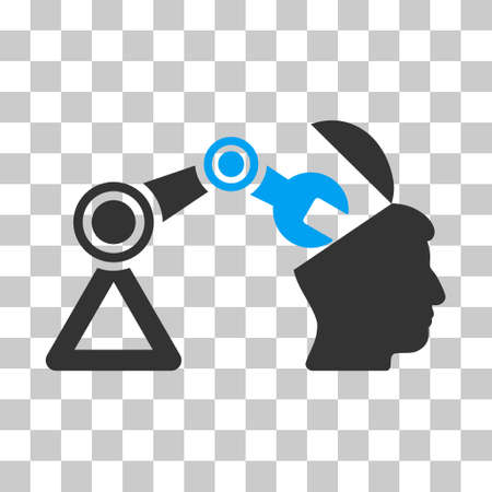 manipulator: Blue And Gray Open Head Surgery Manipulator interface toolbar pictogram. Vector pictogram style is a flat bicolor symbol on chess transparent background.