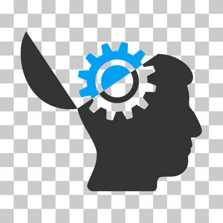 Blue And Gray Open Mind Gear interface toolbar icon. Vector pictogram style is a flat bicolor symbol on chess transparent background. Illustration