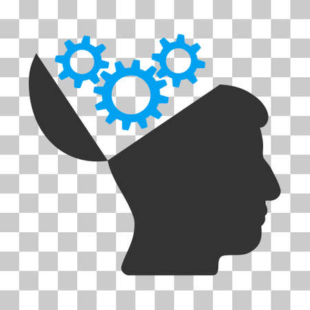sculp: Blue And Gray Open Mind Gears interface toolbar icon. Vector pictograph style is a flat bicolor symbol on chess transparent background.