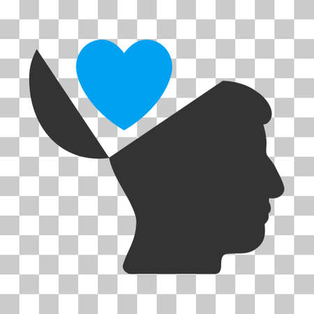 open mind: Blue And Gray Open Mind Love Heart interface icon. Vector pictogram style is a flat bicolor symbol on chess transparent background. Illustration