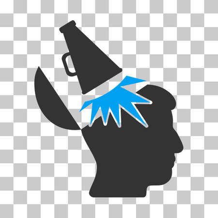 Blue And Gray Open Mind Megaphone interface pictogram. Vector pictograph style is a flat bicolor symbol on chess transparent background. Illustration