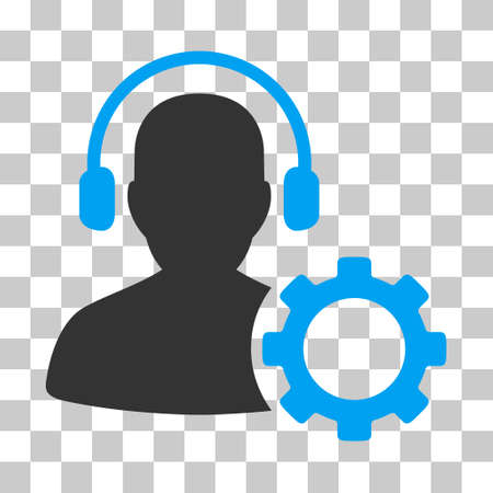 hear business call: Blue And Gray Operator Configuration Gear toolbar icon. Vector pictograph style is a flat bicolor symbol on chess transparent background.