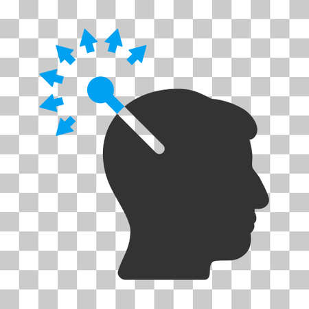 persona: Blue And Gray Optical Neural Interface interface toolbar icon. Vector pictogram style is a flat bicolor symbol on chess transparent background.