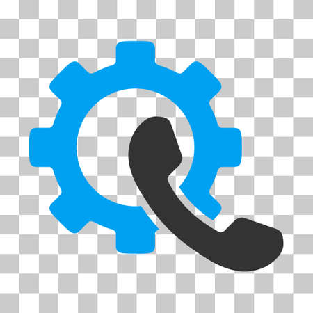 Blue And Gray Phone Configuration interface toolbar icon. Vector pictograph style is a flat bicolor symbol on chess transparent background.