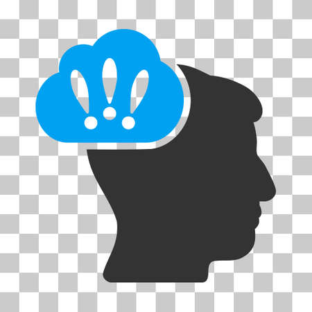 persona: Blue And Gray Problem Brainstorm toolbar pictogram. Vector pictograph style is a flat bicolor symbol on chess transparent background. Illustration