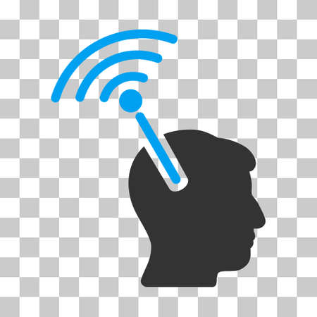 neuroscience: Blue And Gray Radio Neural Interface interface icon. Vector pictograph style is a flat bicolor symbol on chess transparent background. Illustration