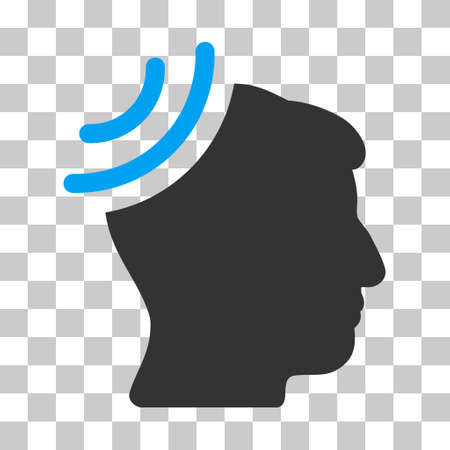 Blue And Gray Radio Reception Brain toolbar icon. Vector pictograph style is a flat bicolor symbol on chess transparent background.