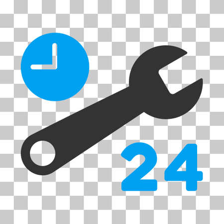 Blue And Gray Service Hours toolbar icon. Vector pictograph style is a flat bicolor symbol on chess transparent background.