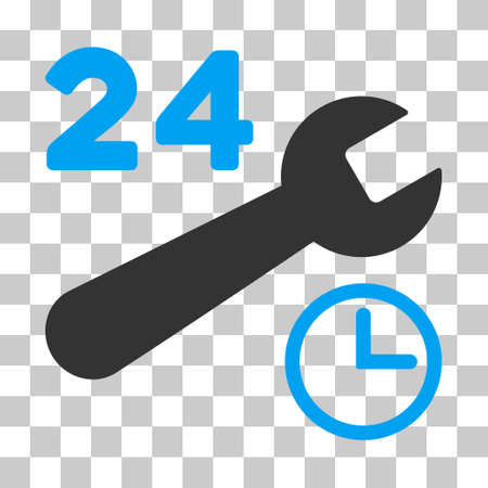 Blue And Gray Service Hours interface toolbar pictogram. Vector pictograph style is a flat bicolor symbol on chess transparent background. Illustration