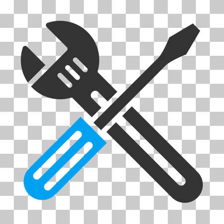 Blue And Gray Spanner and Screwdriver toolbar pictogram. Vector pictograph style is a flat bicolor symbol on chess transparent background.