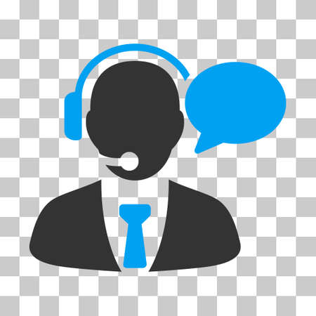 Blue And Gray Support Manager Message interface icon. Vector pictograph style is a flat bicolor symbol on chess transparent background. Illustration