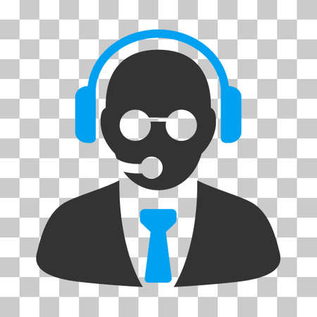 Blue And Gray Support Manager interface pictogram. Vector pictogram style is a flat bicolor symbol on chess transparent background. Illustration