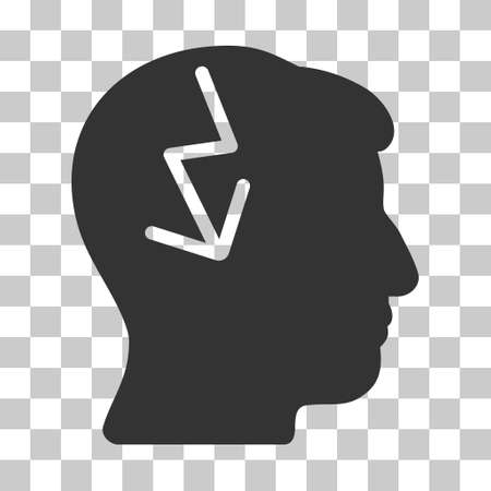 enforce: Gray Brain Electric Strike toolbar pictogram. Vector pictogram style is a flat symbol on chess transparent background.