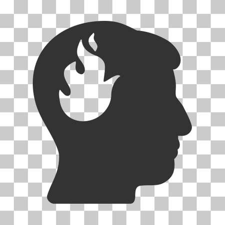 ruch: Gray Brain Fire toolbar pictogram. Vector pictogram style is a flat symbol on chess transparent background.