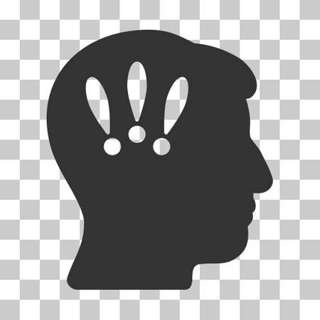 think safety: Gray Head Problems interface toolbar icon. Vector pictograph style is a flat symbol on chess transparent background.