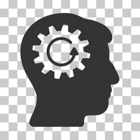 Gray Head Gear Rotation toolbar icon. Vector pictograph style is a flat symbol on chess transparent background. Illustration