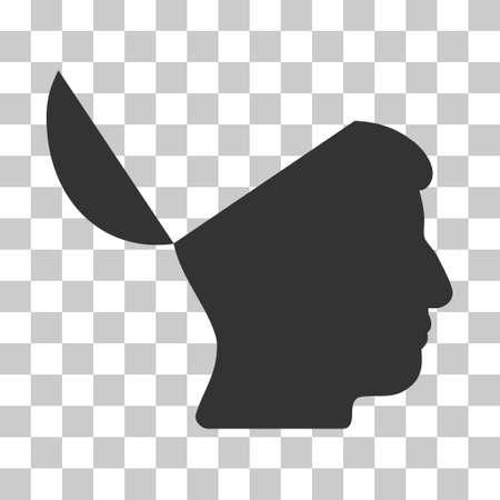 Gray Open Mind interfaz de pictograma. estilo pictograma vector es un símbolo de plano sobre fondo transparente de ajedrez.